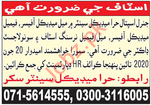Hira Medical Center Sukkur Jobs 2020 for Medical Officers