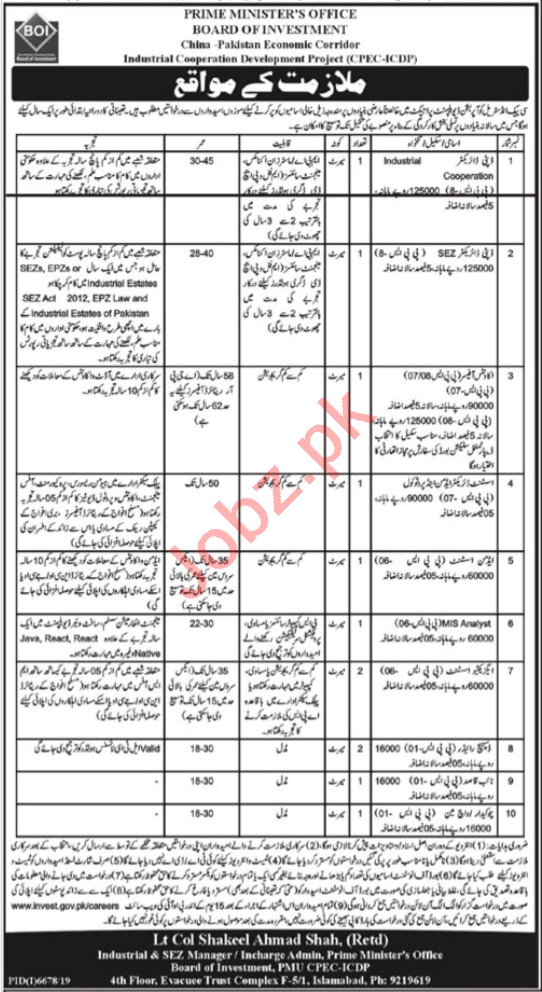 Industrial Cooperation Development Project CPEC ICDP Jobs