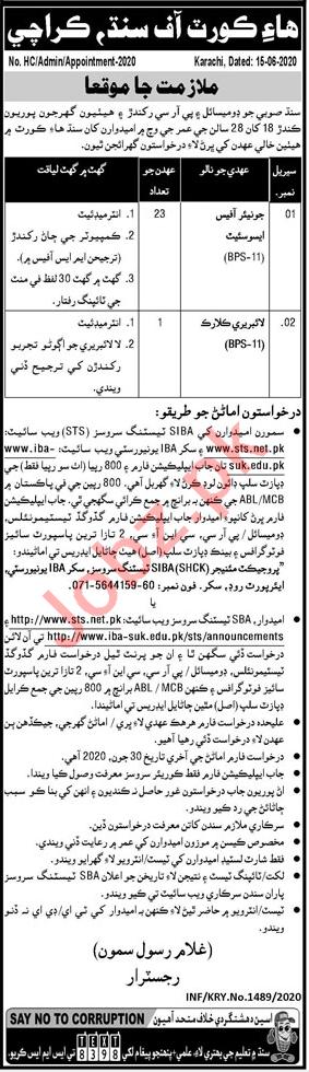 High Court of Sindh Jobs Library Clerk & Office Associate