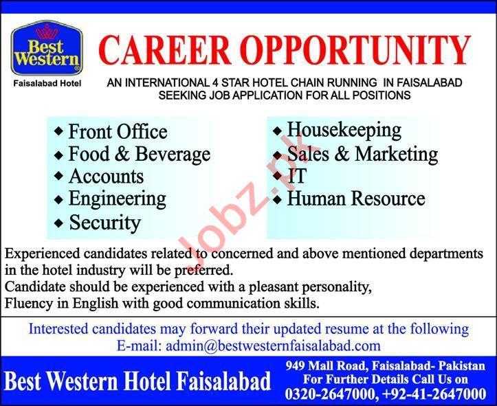 Best Western Hotel Faisalabad Jobs 2020 for Accounts Staff