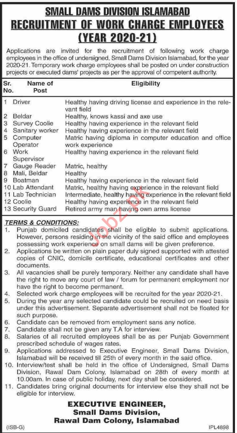 Small Dams Division Islamabad Jobs 2020 for Driver & Beldar