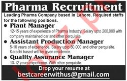 Plant Manager & Assistant Production Manager Jobs 2020