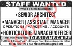 Senior Architect & Assistant Manager Jobs 2020 in Lahore