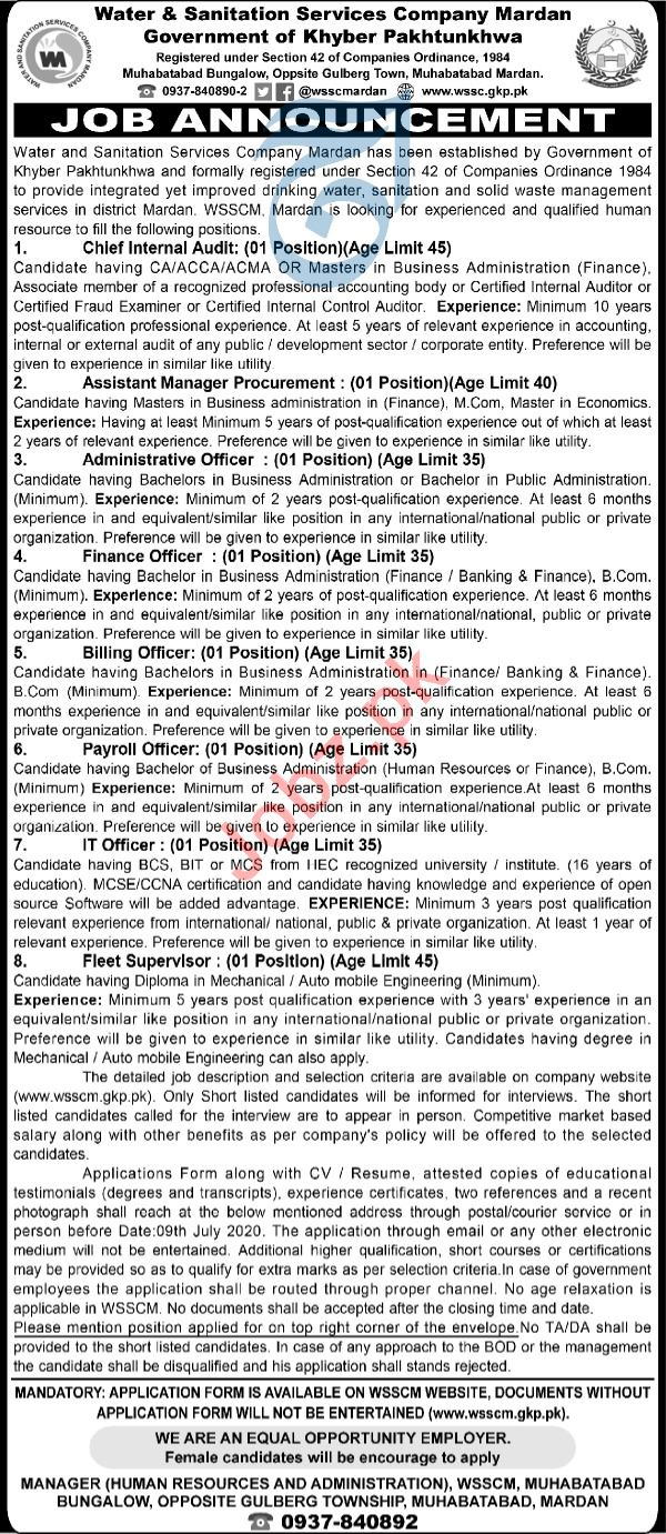 Water & Sanitation Services Company WSSCM Jobs 2020