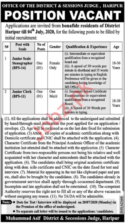 Clerk & Stenographer Jobs 2020 in District & Session Court