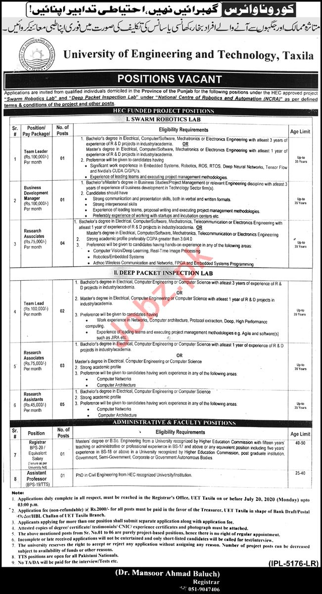 UET Taxila Jobs 2020 for Team Leader & Research Assistant