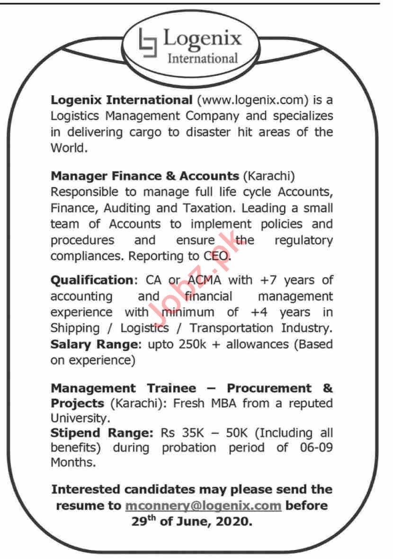 Logenix International Pakistan Jobs 2020 for Manager Finance