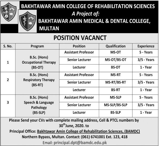 Bakhtawar Amin College of Rehabilitation Sciences Jobs 2020