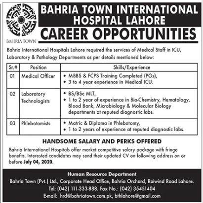 Bahria International Hospital Jobs 2020 in Lahore