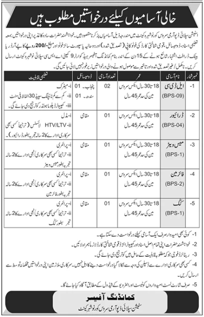Station Supply Depot Army Service Corps Nowshera Cantt Jobs