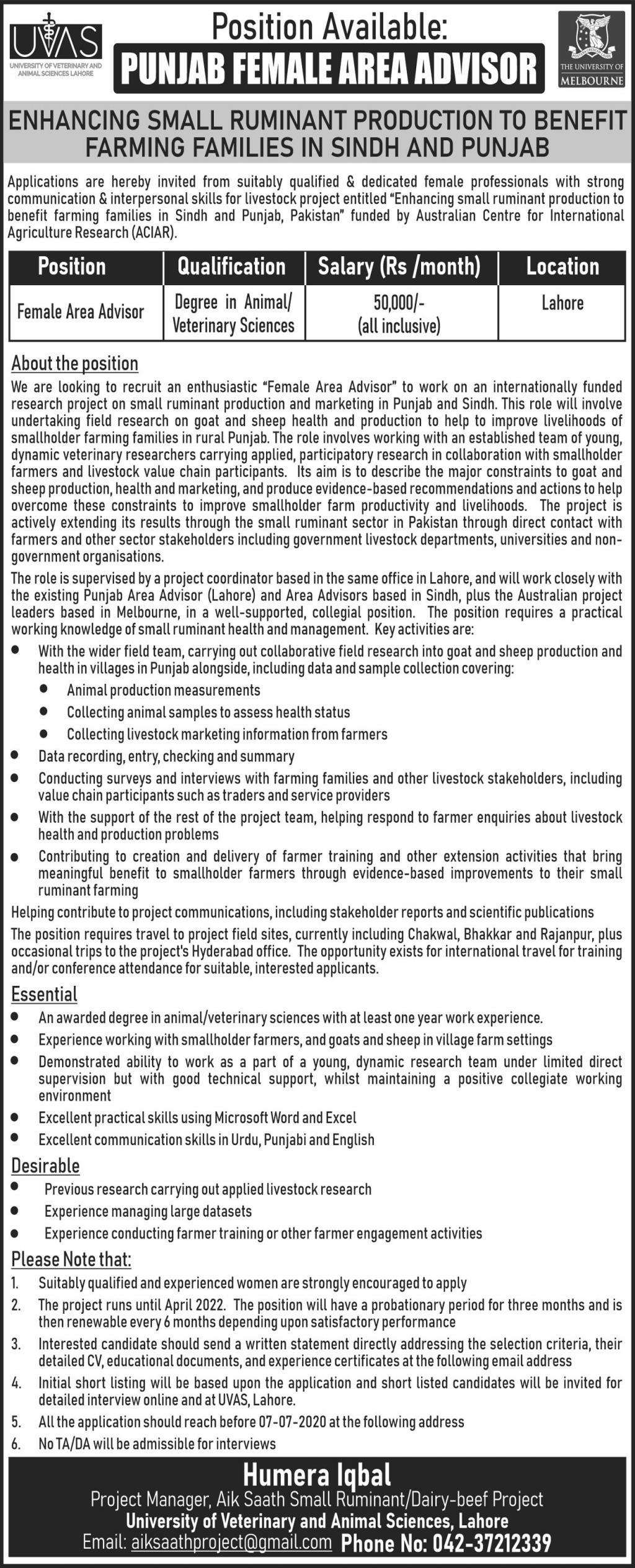 Punjab Female Area Advisor Job 2020 in Lahore