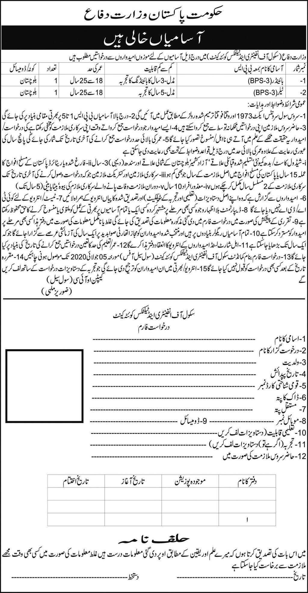 Ministry of Defence School of Infantry and Tactics Jobs 2020