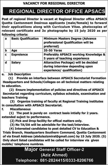 Regional Director Job 2020 in Quetta Cantonment