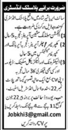 Plastic Industry Jobs 2020 For Technical Staff In Karachi
