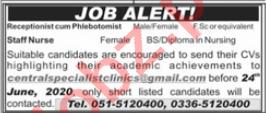 Central Specialist Clinics Rawalpindi Jobs 2020 for Nurses