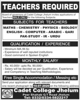 Cadet College Jhelum Jobs 2020 For Teaching Staff