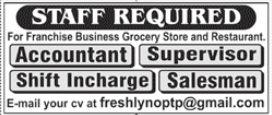 Grocery Store & Restaurant Staff Jobs 2020 in Lahore