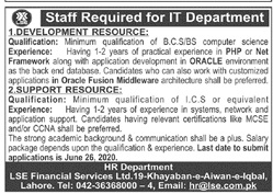Information Technology IT Staff Jobs 2020 in Lahore