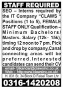 SEO Interns Jobs 2020 in Lahore
