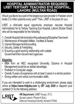 Hospital Administrator Job 2020 in Lahore