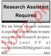 Research Assistant Jobs 2020 in Multan
