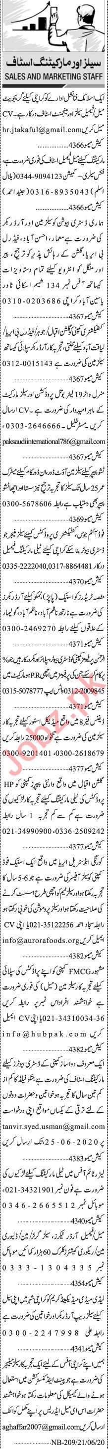 Jang Sunday Classified Ads 21 June 2020 for Sales Staff