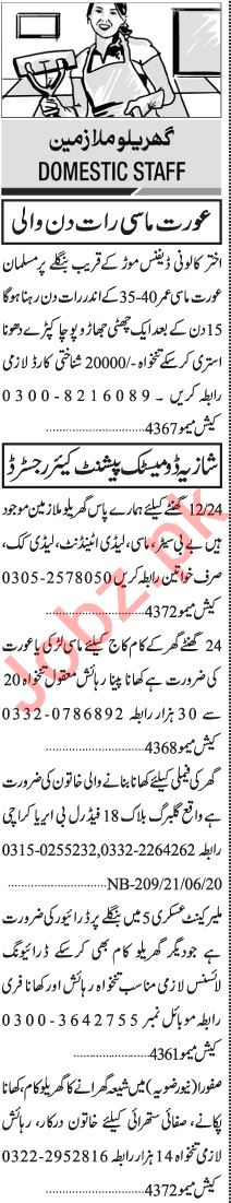 Jang Sunday Classified Ads 21 June 2020 for House Staff