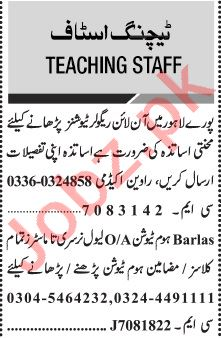 Jang Sunday Classified Ads 21 June 2020 for Teaching Staff