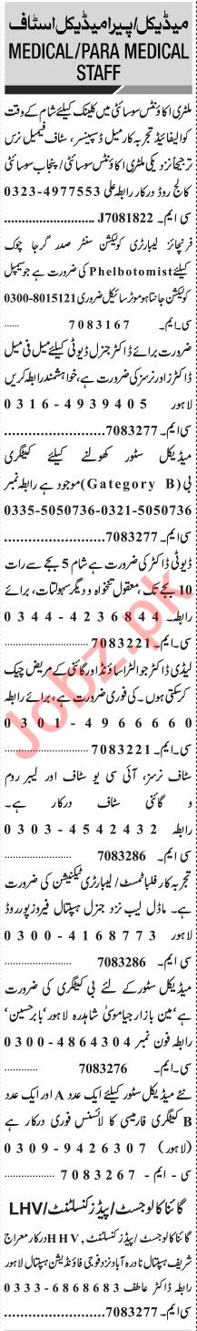 Jang Sunday Classified Ads 21 June 2020 for Medical Staff