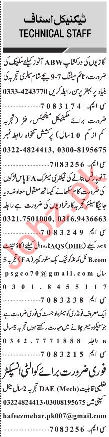 Jang Sunday Classified Ads 21 June 2020 for Technical Staff