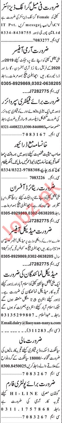 Jang Sunday Classified Ads 21 June 2020 for General Staff