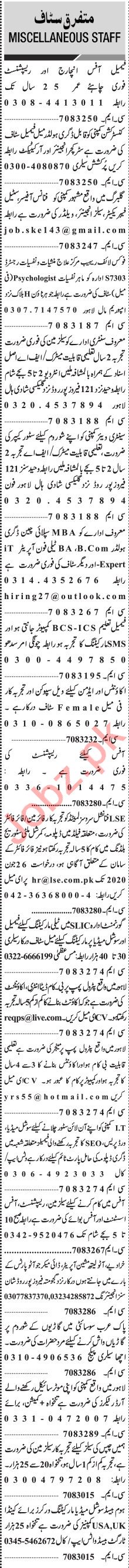 Jang Sunday Classified Ads 21 June 2020 for Management