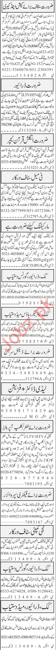 Jang Sunday Classified Ads 21 June 2020 for Admin Staff