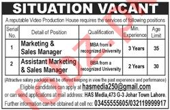 HAS Media Lahore Jobs 2020 for Marketing & Sales Manager