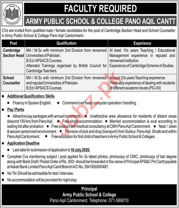 Army Public School & College APS&C Pano Aqil Jobs 2020
