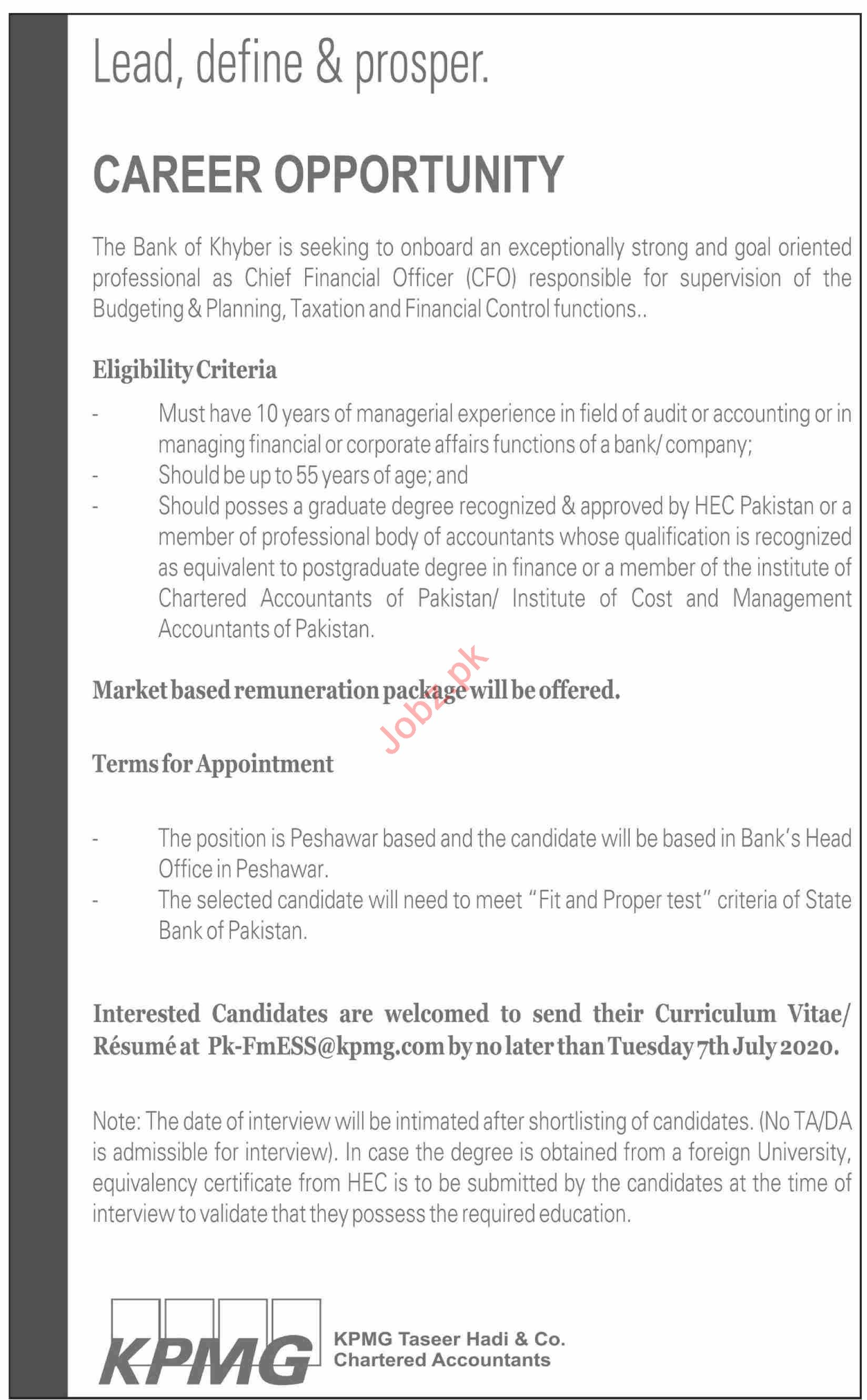 The Bank of Khyber Jobs 2020 for Chief Executive Officer
