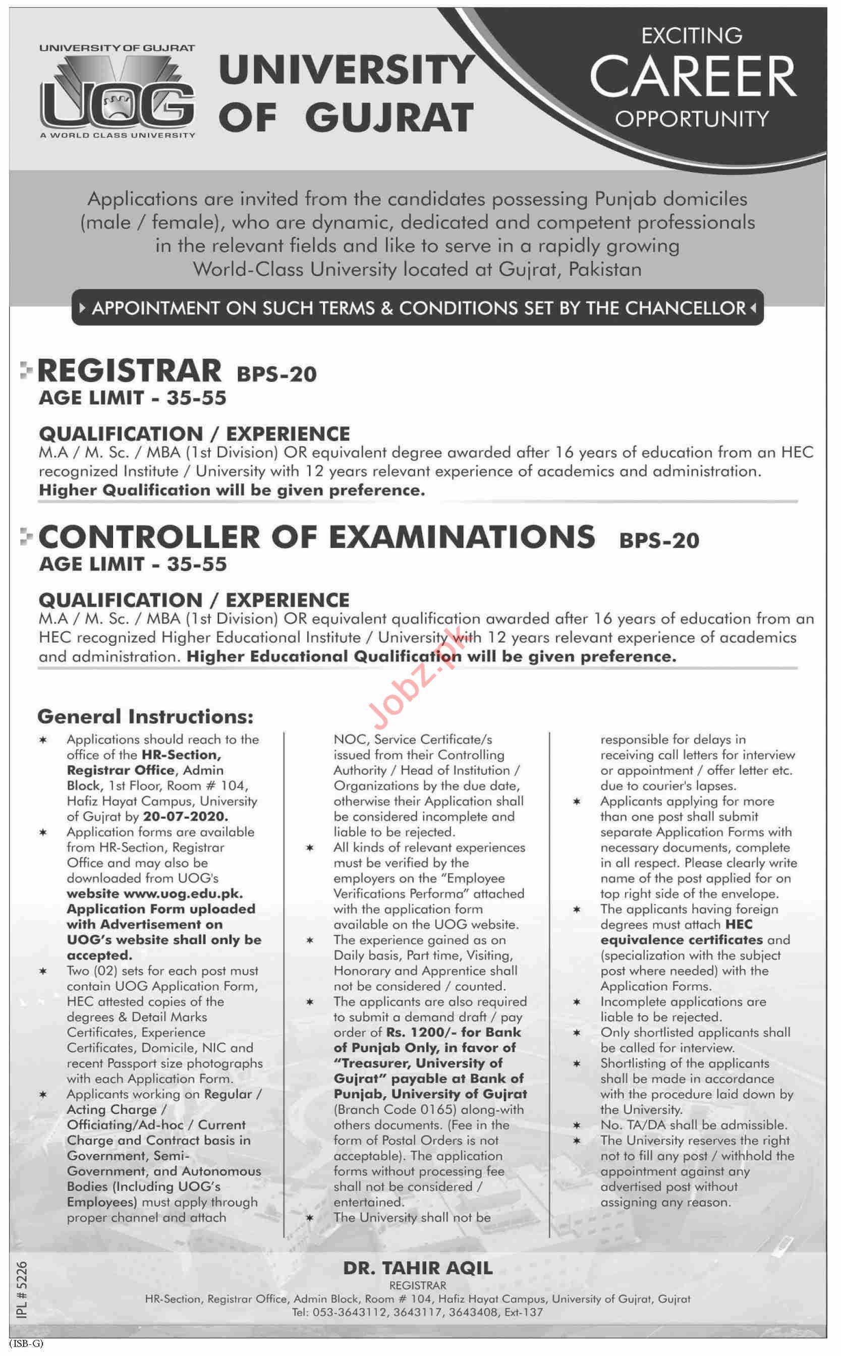 University of Gujrat UOG Jobs 2020 for Registrars