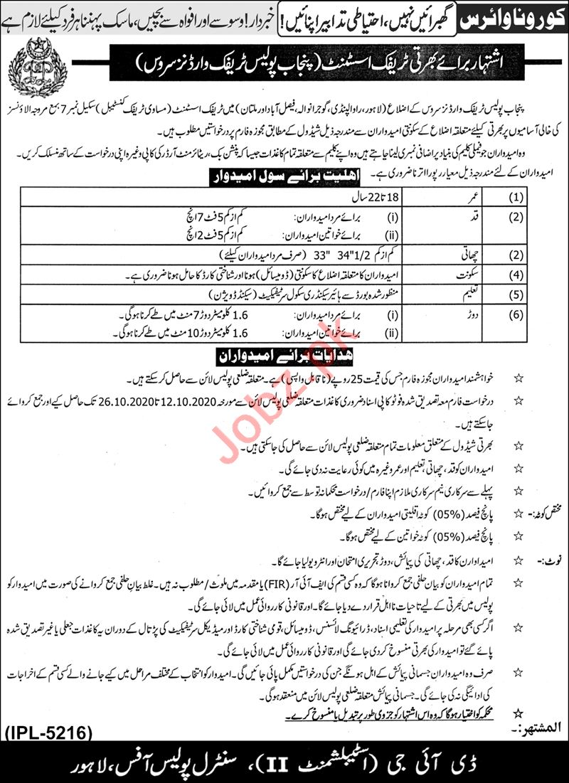 Punjab Police Traffic Warden Jobs 2020 for Traffic Assistant