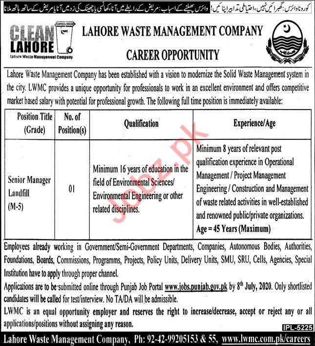 LWMC Lahore Jobs 2020 for Senior Manager Landfill