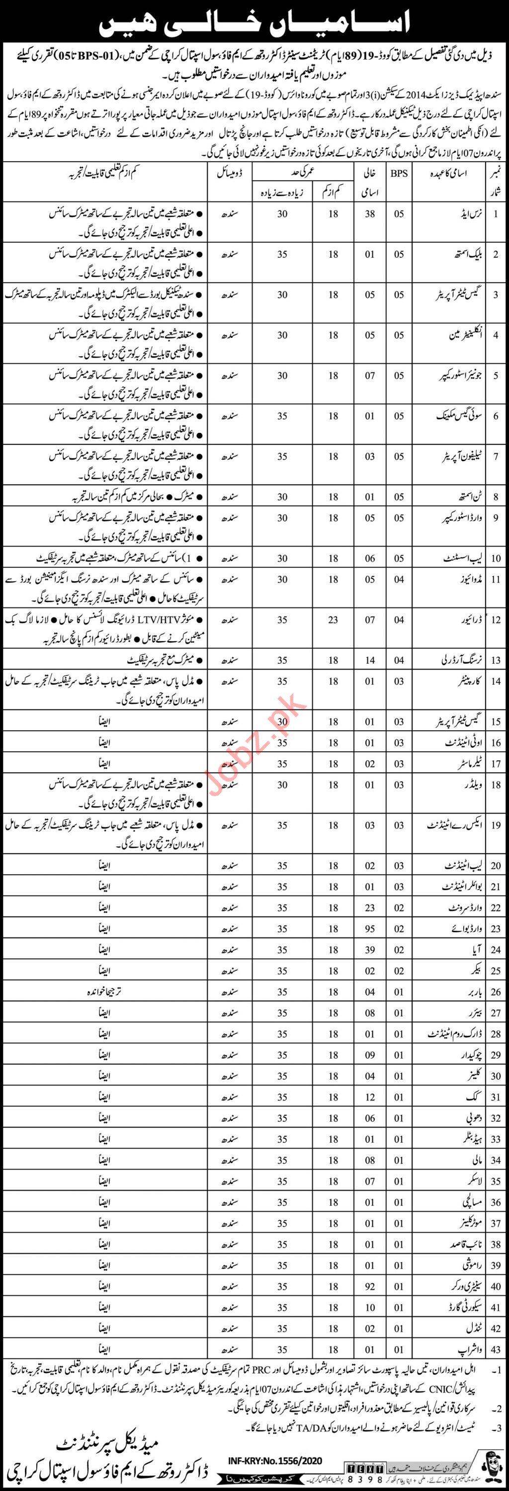 Dr Ruth Pfau Civil Hospital Karachi Medical Staff Jobs 2020