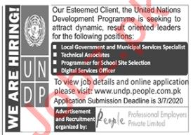 UNDP Jobs 2020 for Technical Associate & Programmer