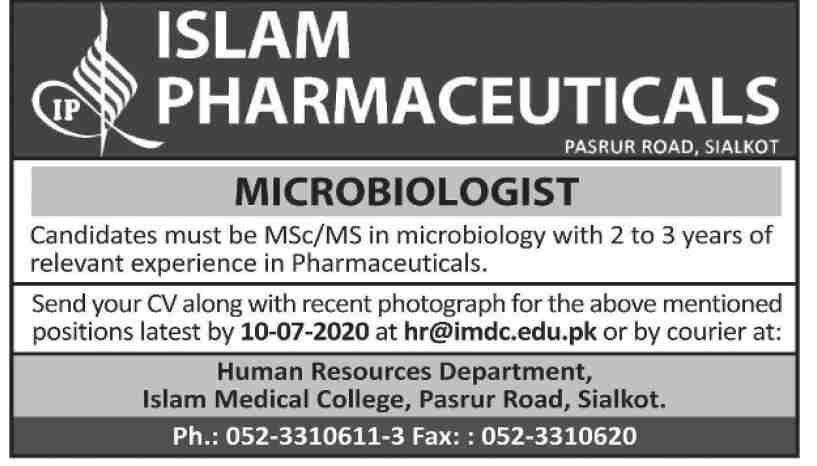 Islam Pharmaceuticals Sialkot Jobs 2020 for Microbiologist