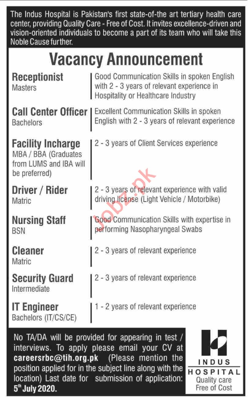 Indus Hospital Jobs 2020 for Receptionists & Drivers