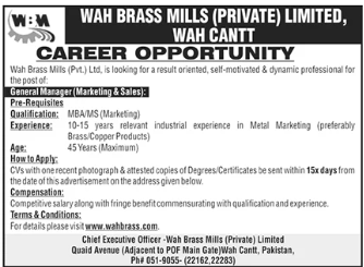 General Manager Marketing & Sales Jobs 2020