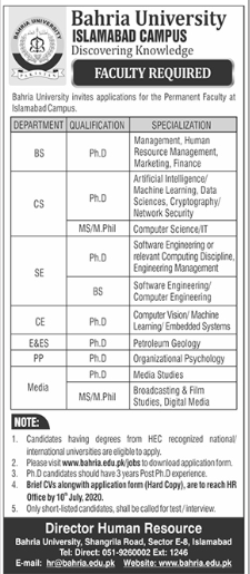 Bahria University Islamabad Campus Jobs For Faculty Staff