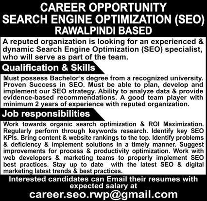 Search Engine Optimization SEO Specialist Job 2020