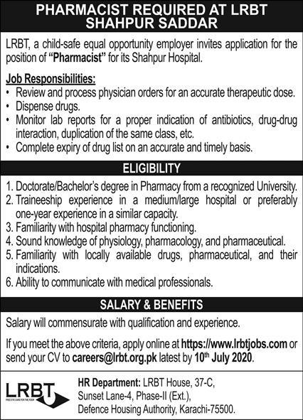 Layton Rahmatullah Benevolent Trust LRBT Job For Pharmacist