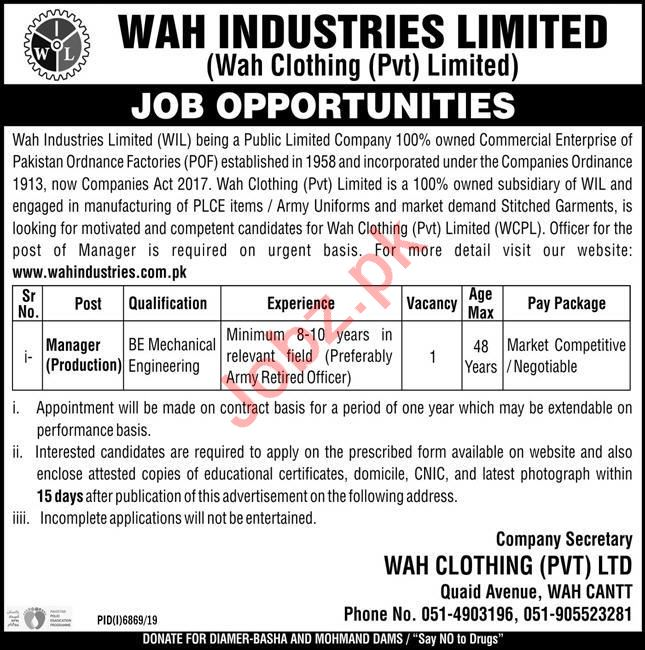 Wah Clothing WIL Wah Cantt Jobs 2020 for Manager Production