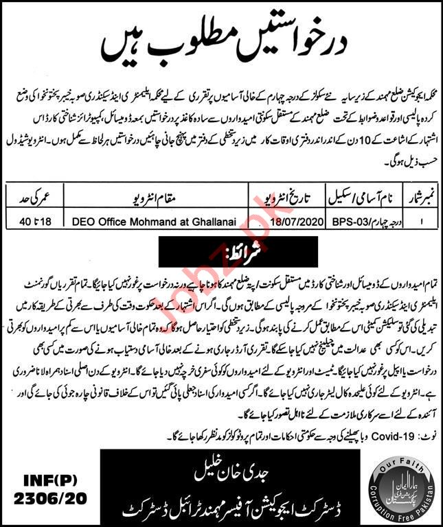 District Education Department Mohmand Tribal Districts Jobs