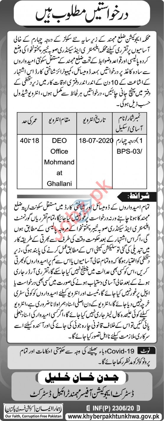 District Education Department Mohmand Jobs 2020 for Drivers